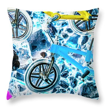 Blue Bike Background Throw Pillow