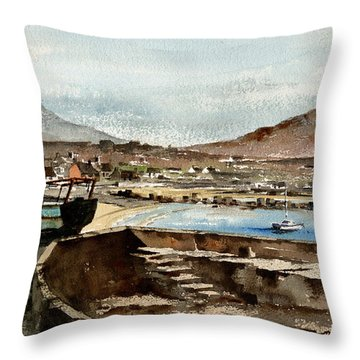 Throw Pillow featuring the painting Blue Boat At Greystones Harbour by Val Byrne