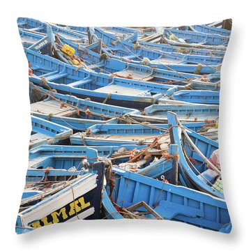 Blue Boats In Morocco Throw Pillow