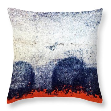 Blue Boulders Red Lava Throw Pillow