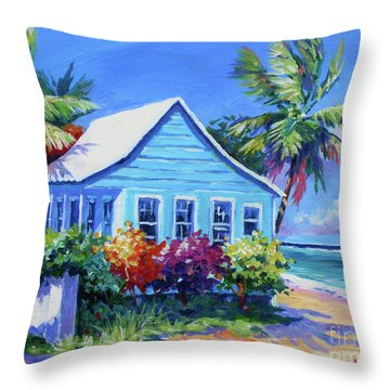 Blue Cottage On The Beach Throw Pillow