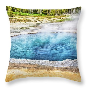 Throw Pillow featuring the photograph Blue Crested Pool At Yellowstone National Park by Tatiana Travelways