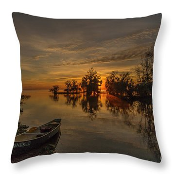 Throw Pillow featuring the photograph Blue Cypress Canoe by Tom Claud