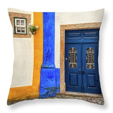Blue Door Of Medieval Portugal Throw Pillow
