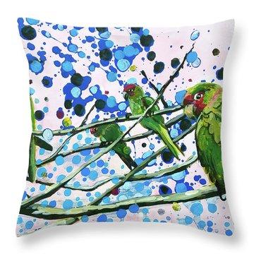 Blue Dot Parakeets Throw Pillow