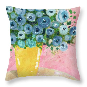 Blue Flowers In A Yellow Vase- Art By Linda Woods Throw Pillow