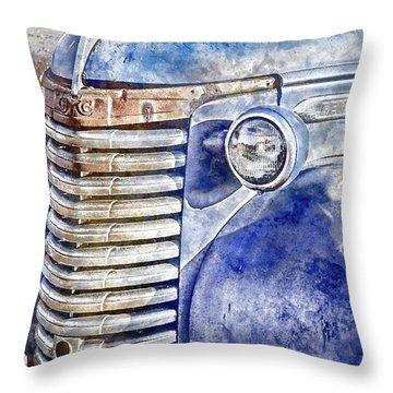 Throw Pillow featuring the photograph Blue Gmc Truck by Brad Allen Fine Art