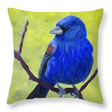 Blue Grosbeak Throw Pillow