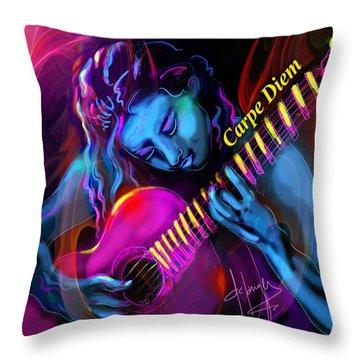 Blue Heart, Carpe Diem Throw Pillow