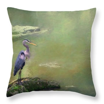 Blue Heron Isolated Throw Pillow