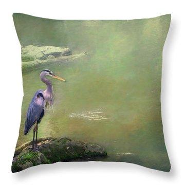 Blue Heron Isolated Throw Pillow