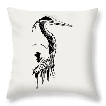 Blue Heron On Waves Throw Pillow