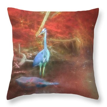 Blue Heron Red Background Throw Pillow
