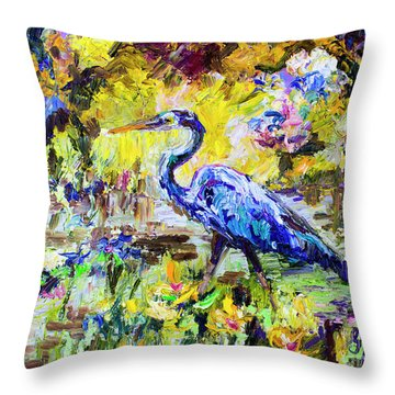 Blue Heron Wetland Magic Palette Knife Oil Painting Throw Pillow