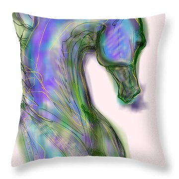 Blue Horse Painting Throw Pillow