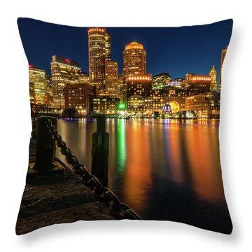 Blue Hour At Boston's Fan Pier Throw Pillow