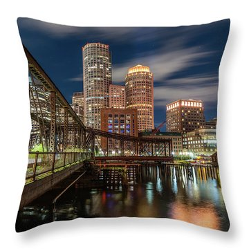Blue Hour In Boston Harbor Throw Pillow