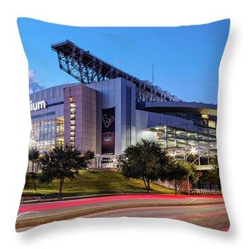 Blue Hour Photograph Of Nrg Stadium - Home Of The Houston Texans - Houston Texas Throw Pillow