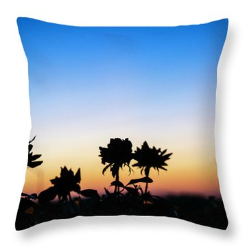 Blue Hour Sunset With Flowers Throw Pillow