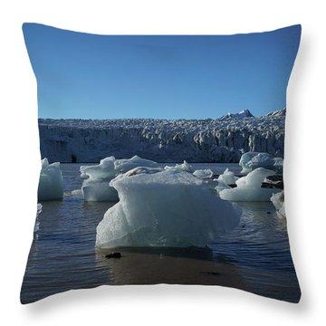 Blue Icebergs Floating Along Storm Arctic Coast Panorama Throw Pillow