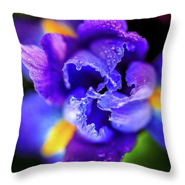 Blue Iris Dance Throw Pillow