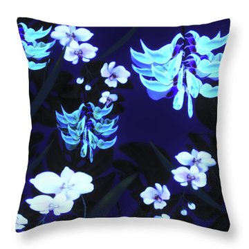 Blue Jungle Floral Throw Pillow