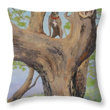 Blue Lacey In A Tree Throw Pillow