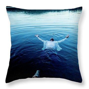 Blue Lake Throw Pillow