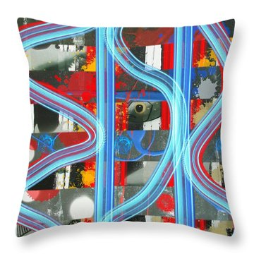 Blue Meet Red Black And White Fish Throw Pillow