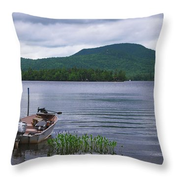 Blue Mountain Lake Throw Pillow