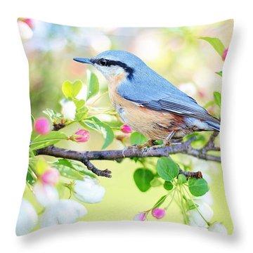 Blue Orange Bird Throw Pillow
