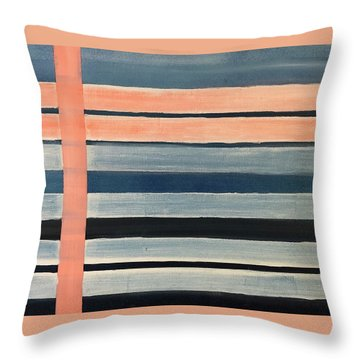 Blue Peachy Stripes Throw Pillow