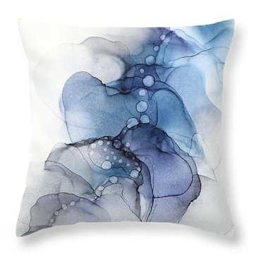 Blue Petal Dots Whispy Abstract Painting Throw Pillow