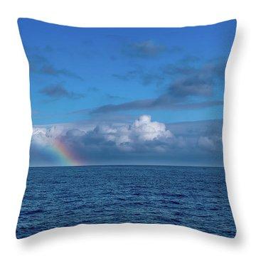 Blue Rainbow Horizon Throw Pillow