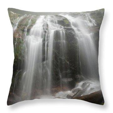 Blue Ridge Mountain Falls Throw Pillow