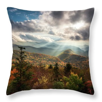 Blue Ridge Mountains Asheville Nc Scenic Autumn Landscape Photography Throw Pillow