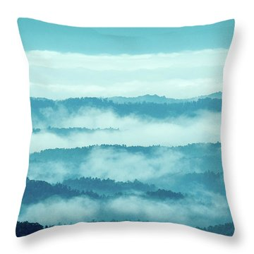 Blue Ridge Mountains Layers Upon Layers In Fog Throw Pillow
