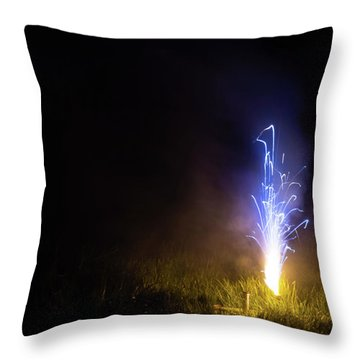 Throw Pillow featuring the photograph Blue Roman Candle by Scott Lyons