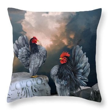Blue Serama Pair Throw Pillow