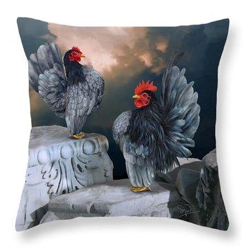 Blue Serama Pair Throw Pillow