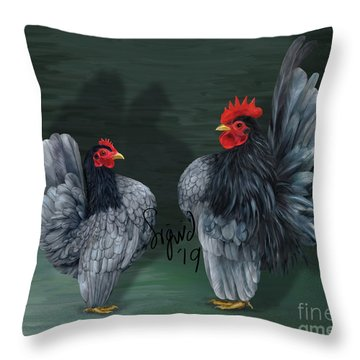 Blue Serama Pair Traditional Style Throw Pillow