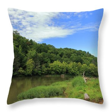 Throw Pillow featuring the photograph Blue Sky At Cumberland River by Angela Murdock