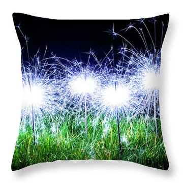 Throw Pillow featuring the photograph Blue Sparklers In The Grass by Scott Lyons