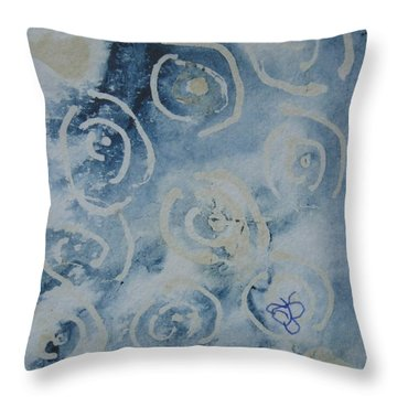 Throw Pillow featuring the drawing Blue Spirals by AJ Brown