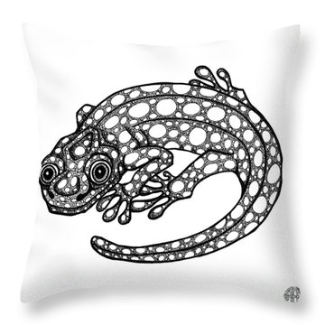 Blue Spotted Salamander Throw Pillow