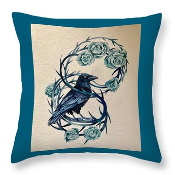 Throw Pillow featuring the painting Blue Thorn Raven by Camille Rendal