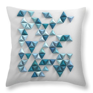 Blue Triangles Throw Pillow