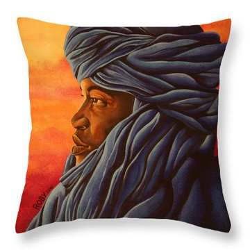 Blue Tuareg Throw Pillow
