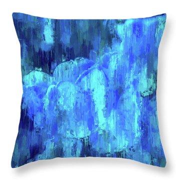 Blue Tulips On A Rainy Day Throw Pillow