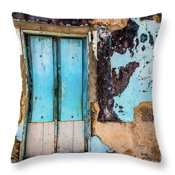 Blue Wall And Door Throw Pillow